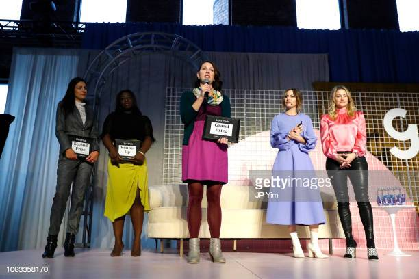 Uber Pitch finalists Bilyana Freye Jamela Acheampong Ashley LambSinclair Sophia Amoruso and Erika Decker WykesSneyd onstage at Girlboss Rally NYC...