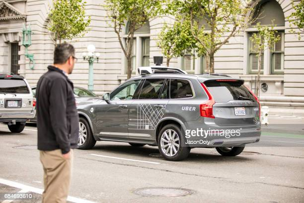 uber self driving car in san francisco - driverless transport stock pictures, royalty-free photos & images
