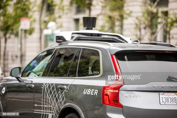 uber self driving car in san francisco - autonomous technology stock photos and pictures