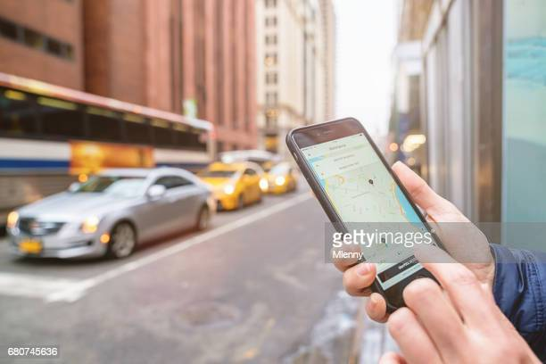 NYC Uber Taxi Chauffeur Call On Apple iPhone New York City Taxi Cab