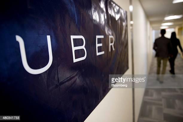 Uber Technologies Inc signage hangs at the company's office before a discussion with Senator Marco Rubio a Republican from Florida in Washington DC...