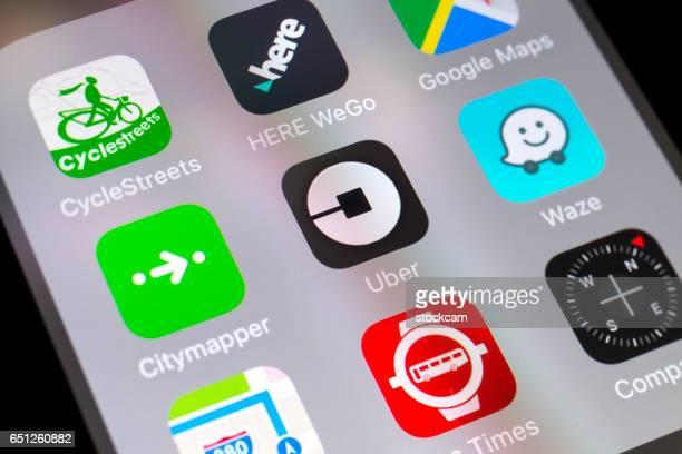 Uber, Waze, Citymapper y otros viajan apps en el teléfono móvil