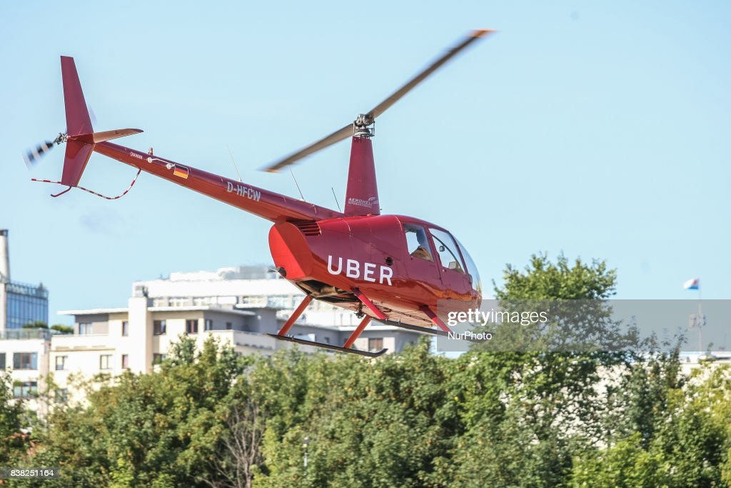 UberChopper Helicopter Is Seen In Gdynia Poland On 24 August 2017 Few Uber App Users
