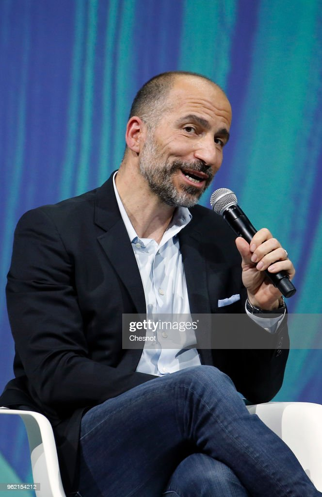 Uber's CEO Dara Khosrowshahi speaks to participants during the Viva Technologie show at Parc des Expositions Porte de Versailles on May 24, 2018 in Paris, France. Viva Technology, the new international event brings together 5,000 startups with top investors, companies to grow businesses and all players in the digital transformation who shape the future of the internet.