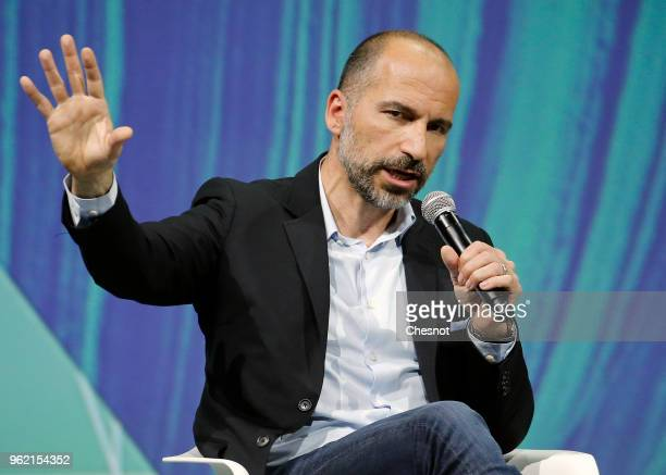 Uber's CEO Dara Khosrowshahi speaks to participants during the Viva Technologie show at Parc des Expositions Porte de Versailles on May 24 2018 in...
