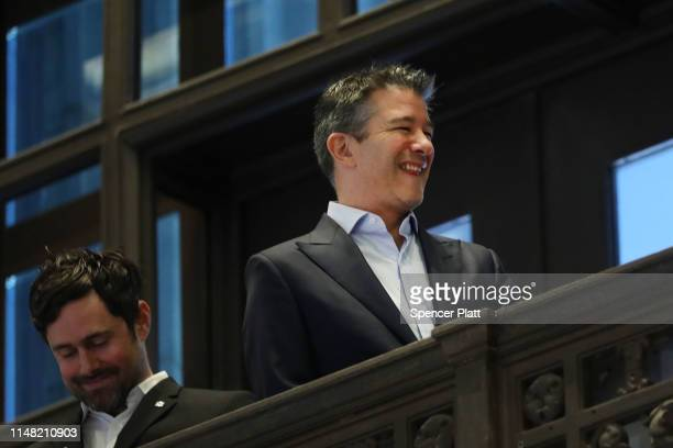 Uber's cofounder and former CEO Travis Kalanick looks out at the floor of the New York Stock Exchange before the Opening Bell at the NYSE as the...