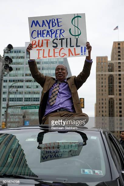 UberX and Lyft cab protest in Philadelphia, PA