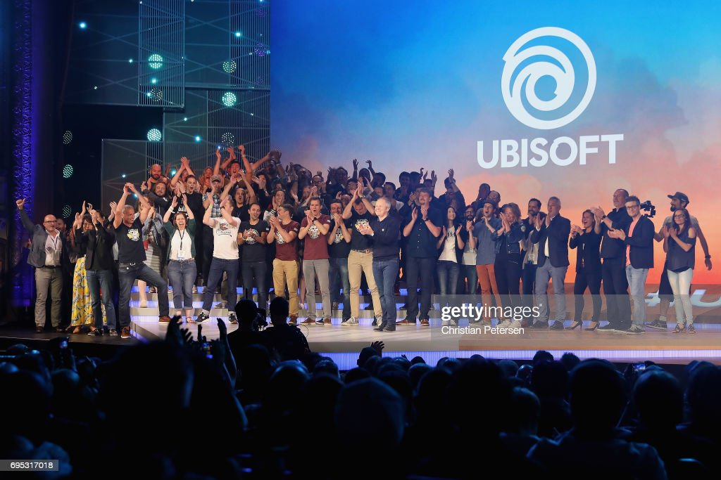Ubisoft Co-founder and CEO Yves Guillemot poses with team Ubisoft onstage following the Ubisoft E3 conference at the Orpheum Theater on June 12, 2017 in Los Angeles, California. The E3 Game Conference begins on Tuesday June 13.