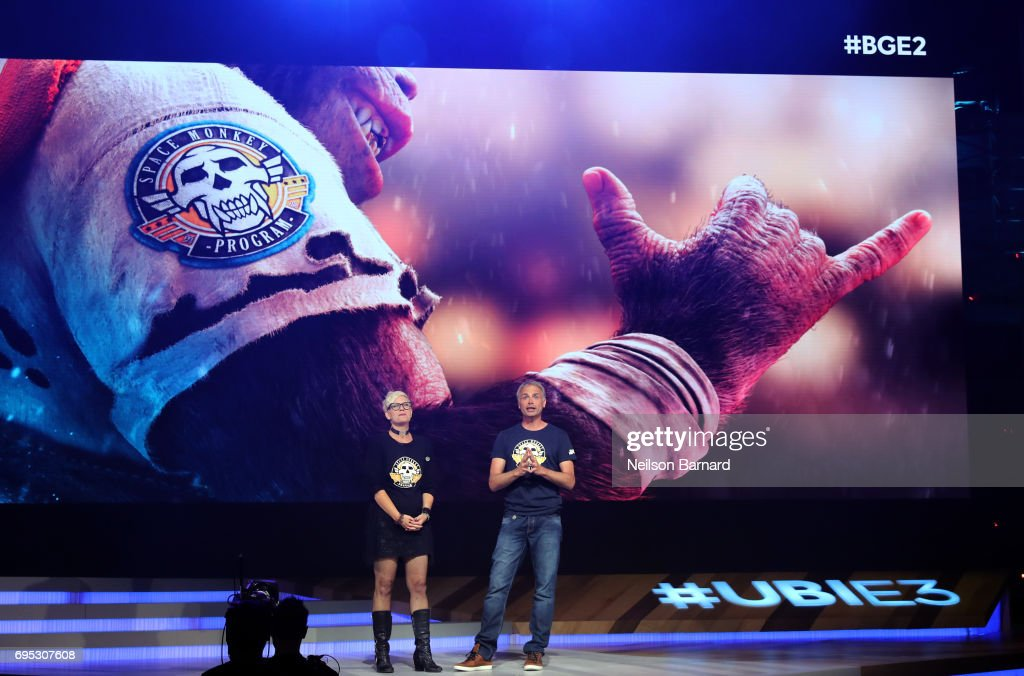 Ubisoft Narrative Director Gabrielle Shrager (L) and Ubisoft Montpellier Studio's Michel Ancel speak onstage during the Ubisoft E3 2017 conference at Orpheum Theatre on June 12, 2017 in Los Angeles, California.