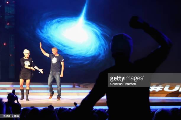 Ubisoft Narrative Director Gabrielle Shrager and Ubisoft Montpellier Studio's Michel Ancel introduce 'Beyond Good and Evil 2' during the Ubisoft E3...