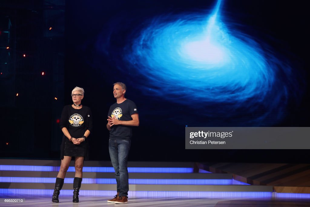 Ubisoft Narrative Director Gabrielle Shrager (L) and Ubisoft Montpellier Studio's Michel Ancel introduce 'Beyond Good and Evil 2' during the Ubisoft E3 conference at the Orpheum Theater on June 12, 2017 in Los Angeles, California. The E3 Game Conference begins on Tuesday June 13.