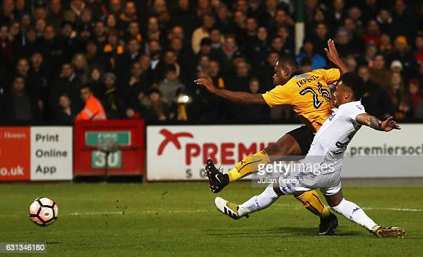 Uche Ikpeazu of Cambridge United scores their first goal during the Emirates FA Cup Third Round match between Cambridge United and Leeds United at...