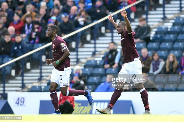 Uche Ikpeazu of Heart of Midlothian FC celebrates after scoring his team's first goal during the Scottish Cup Semi Final match between Heart of...