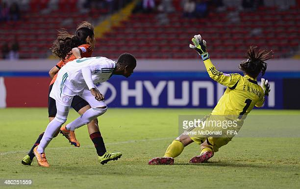 Uchenna Kanu of Nigeria scores her goal during the FIFA U17 Women's World Cup Group D match between Nigeria and Mexico at Estadio Nacional on March...