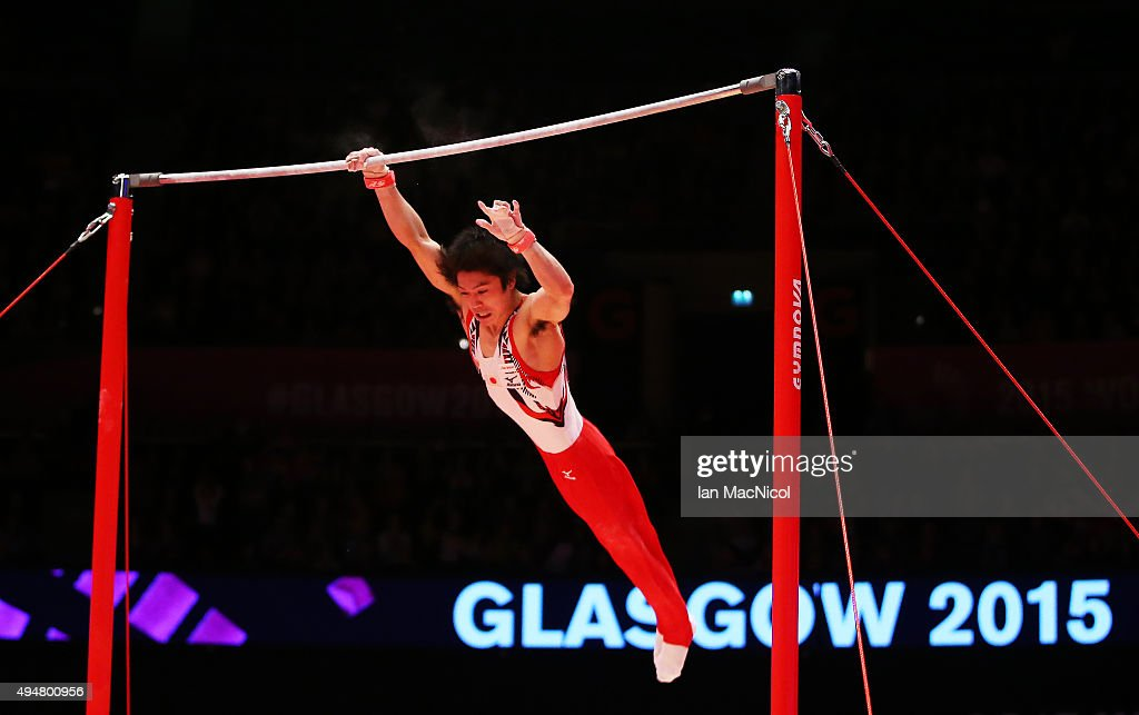 Uchimura Kohei of Japan falls as he competes on the high bar during day six of World Artistic Gymnastics Championship at The SSE Hydro on October 28, 2015 in Glasgow, Scotland.