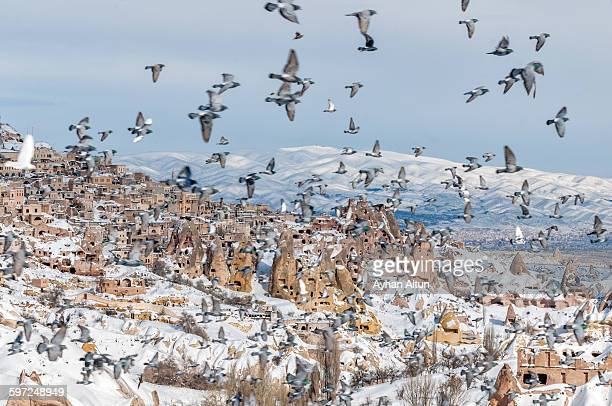 Uchisar town in Cappadocia at winter,Turkey