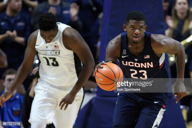 UConn Huskies forward Eric Cobb fast breaks during a college basketball exhibition game between Providence Friars and UConn Huskies for the American...
