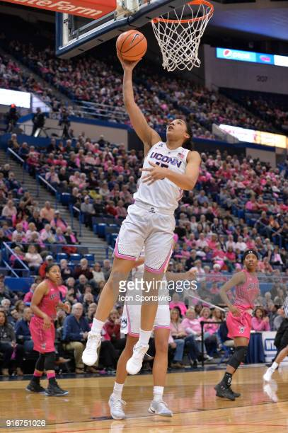 UConn Huskies Forward Gabby Williams shoots during a fast break opportunity during the game as the UConn Huskies host the Wichita State Shockers on...