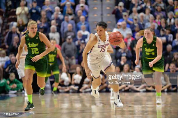 UConn Huskies Forward Gabby Williams steals the ball from South Florida Bulls Forward Maria Jespersen which leads to a fast break opportunity during...
