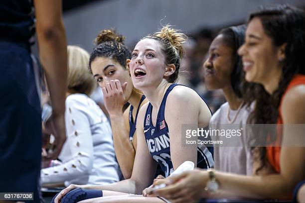 UConn Huskies forward Katie Lou Samuelson talks to teammates on the bench during the American Athletic Conference college basketball game between the...