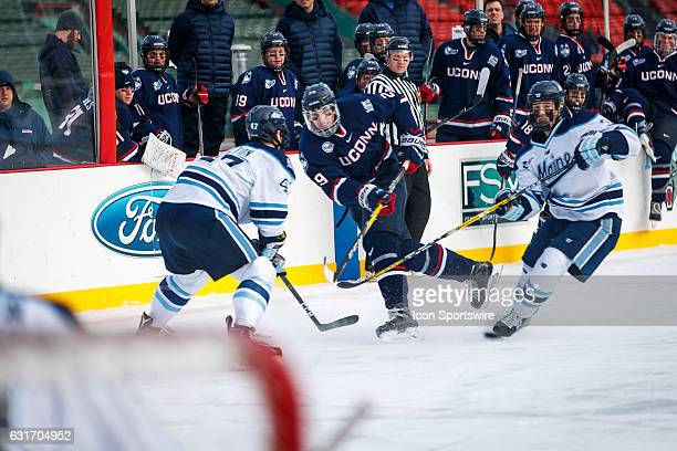 UConn Huskies forward Tage Thompson takes a shot on goal during the second period of the game between the University of Maine Black Bears and the...