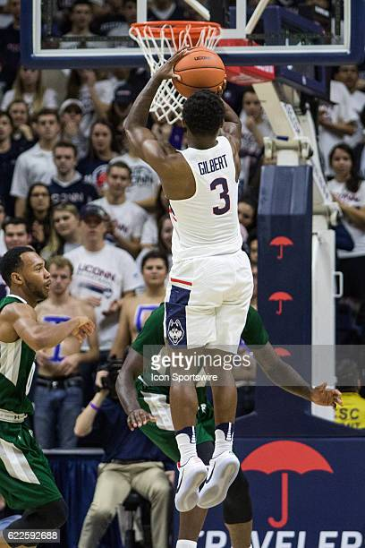 UConn Huskies Guard Alterique Gilbert shoots from 3 point range during the first half of a men's NCAA division 1 basketball game between the Wagner...