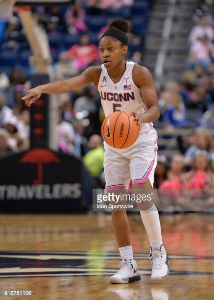 UConn Huskies Guard Crystal Dangerfield commands the court during the game as the UConn Huskies host the Wichita State Shockers on February 10 2018...