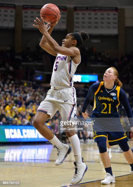UConn Huskies Guard Crystal Dangerfield shoots during the game as the Quinnipiac Bobcats take on the UConn Huskies in the Second Round of the NCAA...