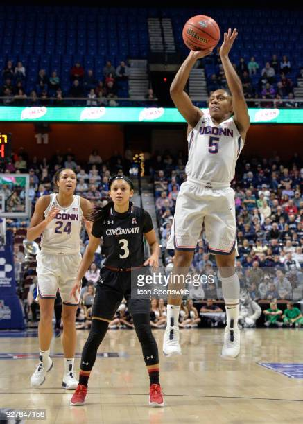 UConn Huskies Guard Crystal Dangerfield shoots the open jumper during the game as the Cincinnati Bearcats take on the UConn Huskies on March 05 2018...