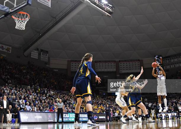 UConn Huskies Guard Crystal Dangerfield shoots the three pointer during the game as the Quinnipiac Bobcats take on the UConn Huskies in the Second...