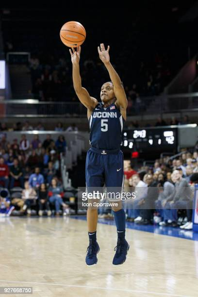 UConn Huskies guard Crystal Dangerfield takes a shot during the American Conference college basketball game between the SMU Mustangs and the UConn...