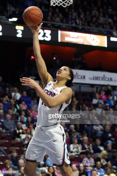 UConn Huskies guard Gabby Williams makes a lay up during the first half the American Athletic Conference Women's semifinal game between UCF Knights...