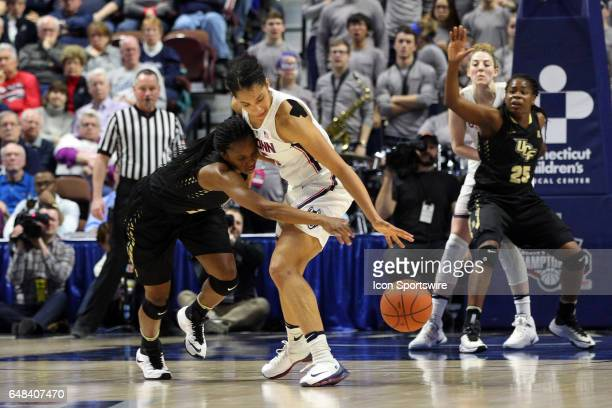UConn Huskies guard Gabby Williams steals the ball from UCF Knights guard Zykira Lewis during the first half the American Athletic Conference Women's...