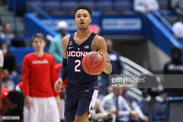 UConn Huskies guard Jalen Adams with the ball during the second half of the American Athletic Conference quarterfinal game between UConn Huskies and...