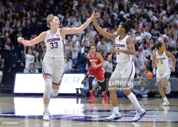 UConn Huskies Guard Katie Lou Samuelson and UConn Huskies Guard Crystal Dangerfield high five each other during the game as the UConn Huskies host...