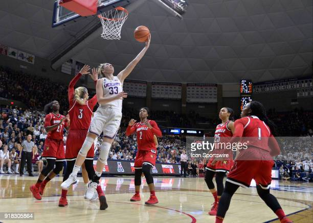UConn Huskies Guard Katie Lou Samuelson reverse lays up the ball in the offensive rebound during the game as the UConn Huskies host the Louisville...