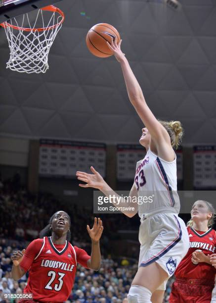 UConn Huskies Guard Katie Lou Samuelson shoots in the post during the game as the UConn Huskies host the Louisville Cardinals on February 12 2018 at...