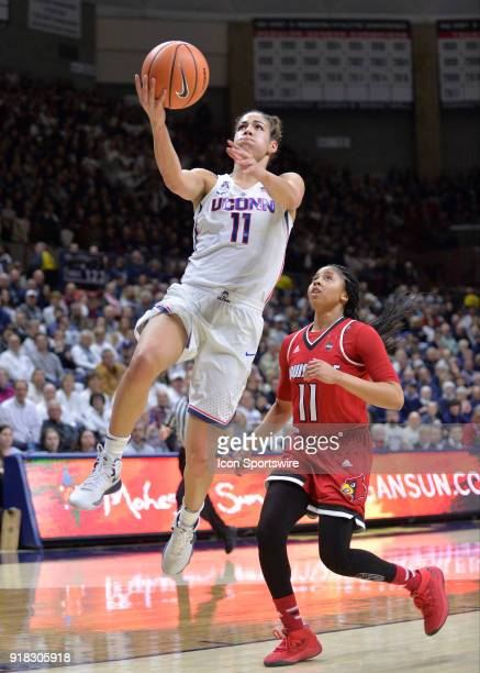 UConn Huskies Guard Kia Nurse scores on the fast break opportunity during the game as the UConn Huskies host the Louisville Cardinals on February 12...