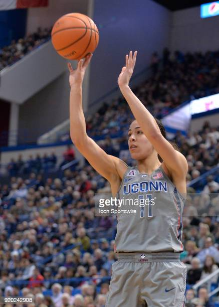 UConn Huskies Guard Kia Nurse shoots the open jumper during the game as the UConn Huskies host the Temple Owls on February 18 2018 at the XL Center...
