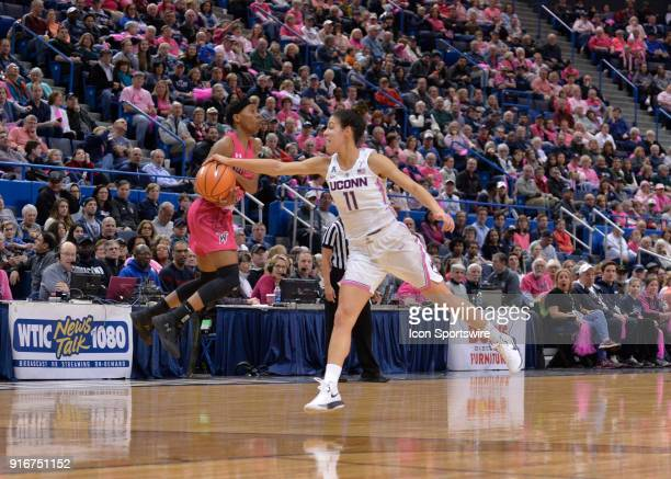 UConn Huskies Guard Kia Nurse steals the errant pass from Wichita State Shockers Guard Keke Thompson during the game as the UConn Huskies host the...