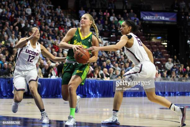 UConn Huskies guard Saniya Chong and UConn Huskies guard Gabby Williams doubleteams USF Bulls forward Maria Jespersen during the second half of the...