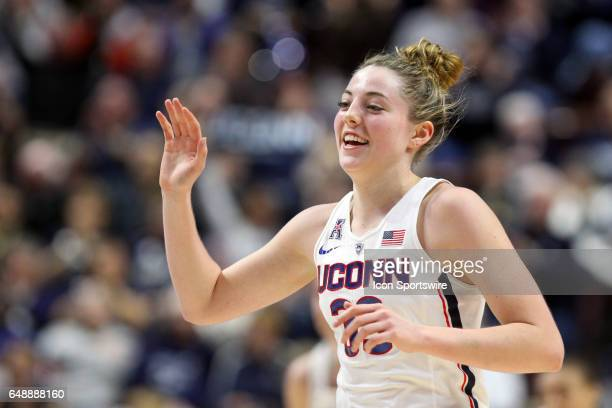 UConn Huskies guard/forward Katie Lou Samuelson reacts after scoring her 10th consecutive three point shot during the first half of the American...