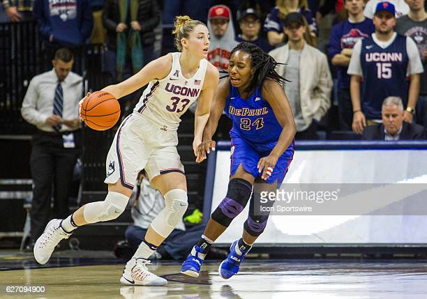 UConn Huskies Guard/Forward Katie Lou Samuelson works around DePaul's Guard Tanita Allen during the first half of a women's NCAA division 1...