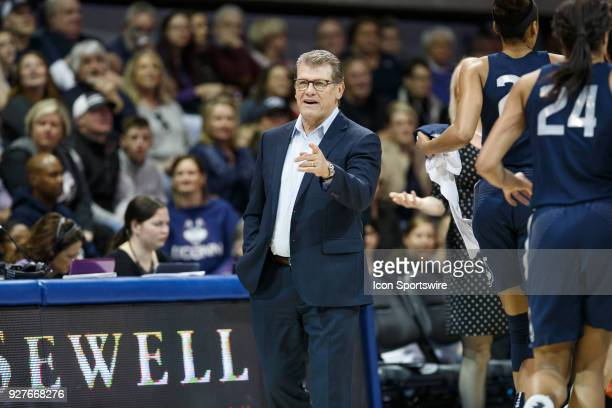 UConn Huskies head coach Geno Auriemma talks to the referees during the American Conference college basketball game between the SMU Mustangs and the...
