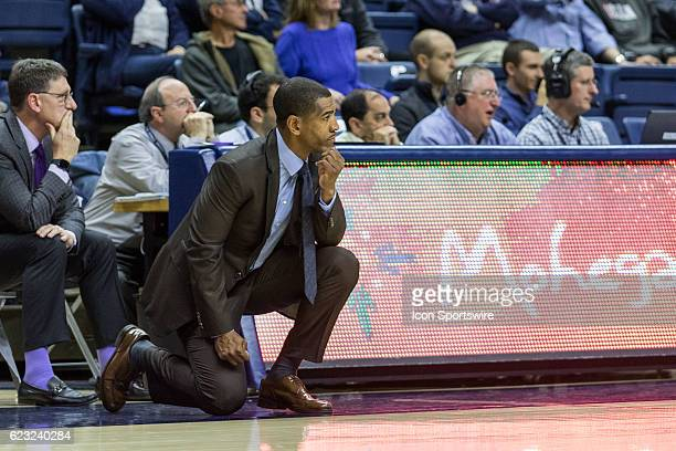 UConn Huskies Head Coach Kevin Ollie looks on from the sidelines during the second half of a men's NCAA division 1 basketball game between the...