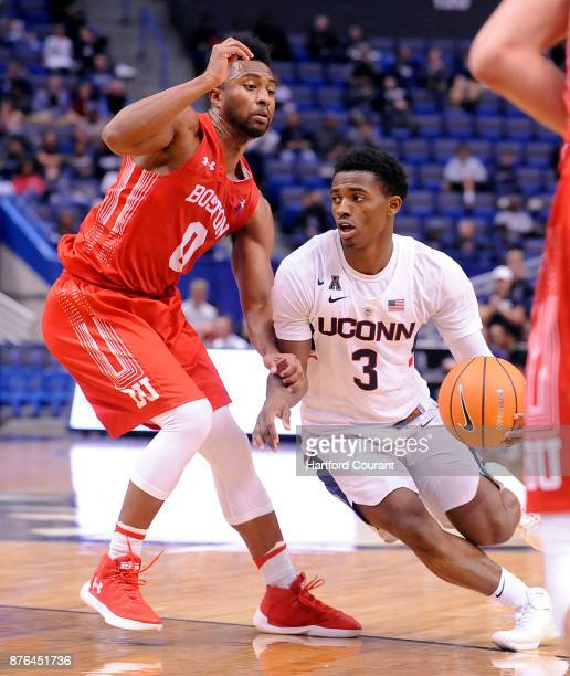 UConn's Alterique Gilbert looks for a lane in the second half as Boston University's Eric Johnson defends on Sunday Nov 19 2017 at the at XL Center...