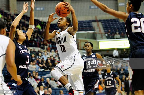 UConn's Brianna Banks drives the lane for two against Fairleigh Dickinson during the second half as UConn Huskies beat Fairleigh Dickinson Knights...