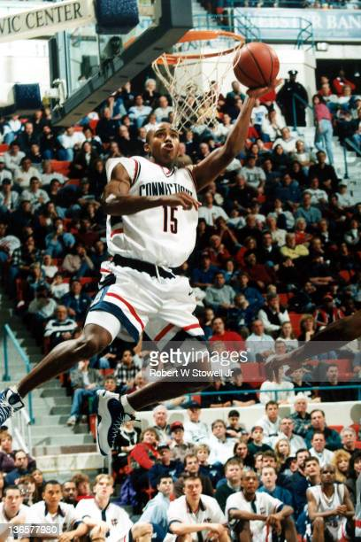 UConn's Kevin Freeman takes it to the hoop, Hartford CT, 1999.