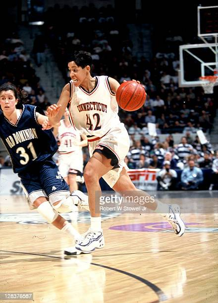 UConn's Nykesha Sales drives upcourt vs Old Dominion Hartford CT 1996