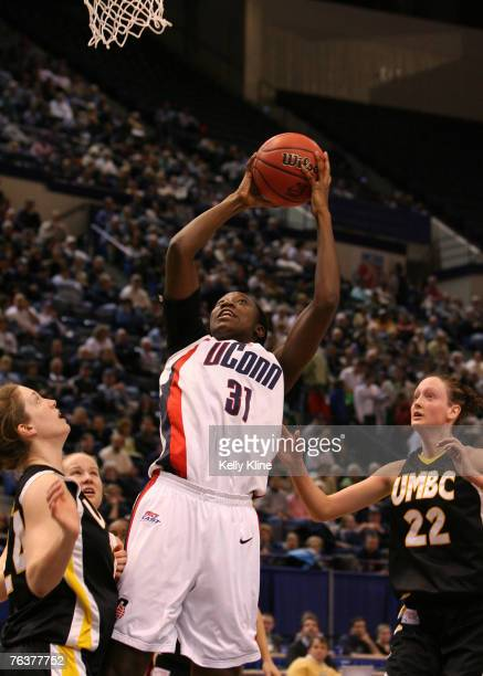 UConn's Tina Charles going up strong for a short jumper in UMBC's first ever NCAA tournament appearance at the Hartford Civic Center in Hartford...